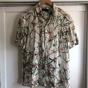 Allsaints Floral Hawaii Short Sleeve Button Down